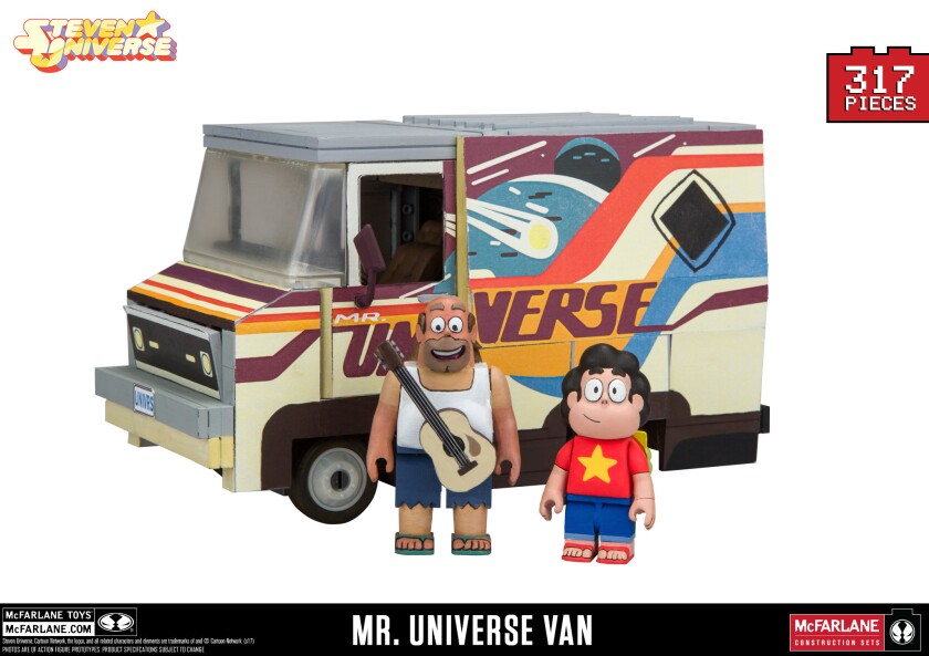 "The Mr. Universe Van ""Steven Universe"" construction set, with figures of Greg and Steven."