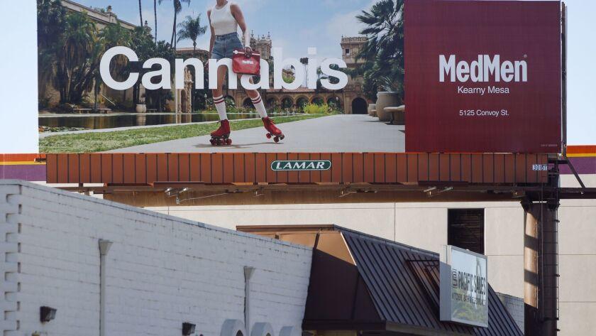 SAN DIEGO, October 17, 2018 | A billboard on Morena Boulevard that advertises the MedMen marijuana store in San Diego on Wednesday. | Photo by Hayne Palmour IV/San Diego Union-Tribune