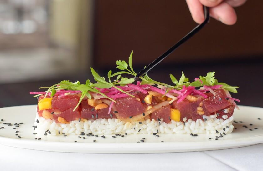 Bluefin tuna poke, a new dish at Pacific Del Mar in 2021.