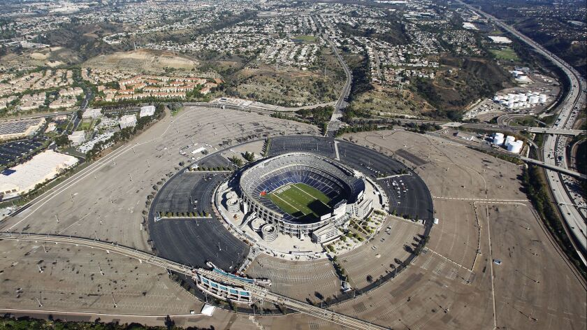 An aerial photo of SDCCU Stadium shows the Mission Valley stadium site where the Chargers used to play.