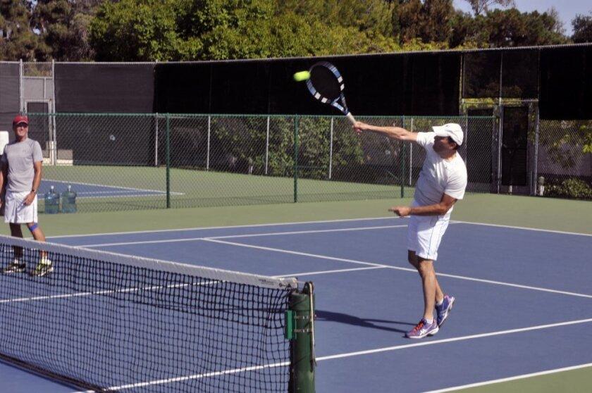 Bernard Xavier plays at the Rancho Santa Fe Tennis Club in July.