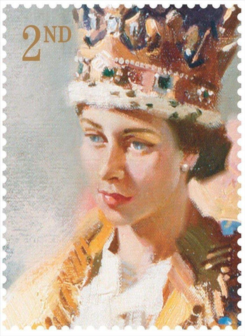 Imagen facilitada por el servicio postal británico, el British Royal Mail, de uno de los sellos emitidos para conmemorar el 60 aniversario de la coronación de la reina Isabel II. EFE
