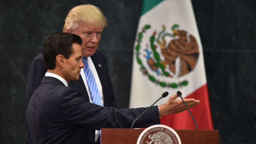 President Trump traveled to Mexico City as a candidate in August to meet with President Enrique Peña Nieto. The two leaders will meet again in Washington on Jan. 31.