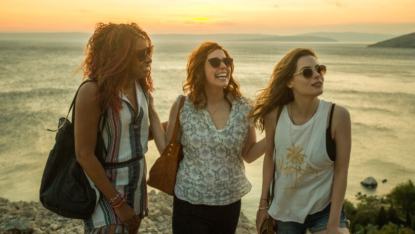"""Phoebe Robinson, from left, Vanessa Bayer and Gillian Jacobs in the movie """"Ibiza."""""""