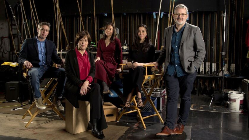 """From left: Tim Wardle (""""Three Identical Strangers""""), Betsy West (""""RBG""""), Sandi Tan (""""Shirkers""""), Elizabeth Chai Vasarhelyi (""""Free Solo"""") and Morgan Neville (""""Won't You Be My Neighbor"""") gather for The Envelope's documentary roundtable at the Montalban Theater."""