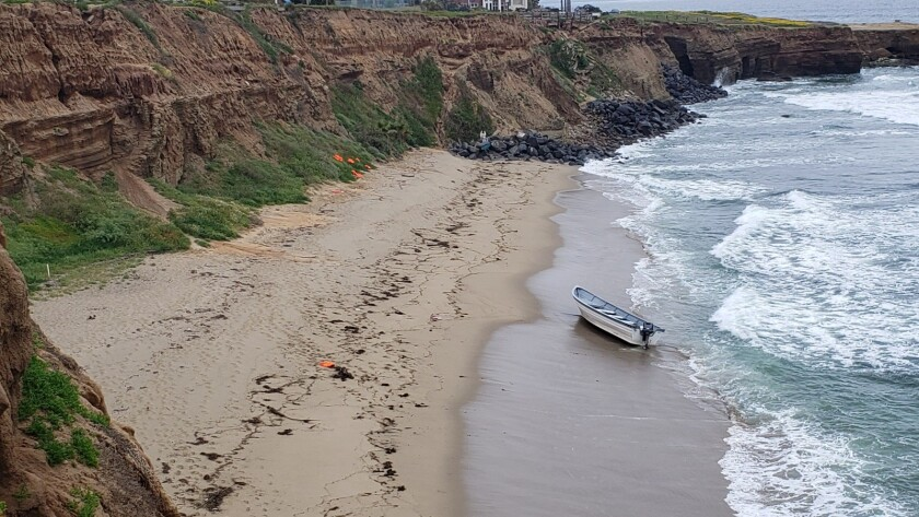 An abandoned panga was found in Sunset Cliffs early Monday.