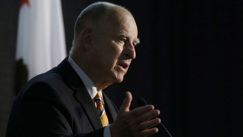 California Gov. Jerry Brown speaks at a forum in Sacramento, Calif. on June 29.