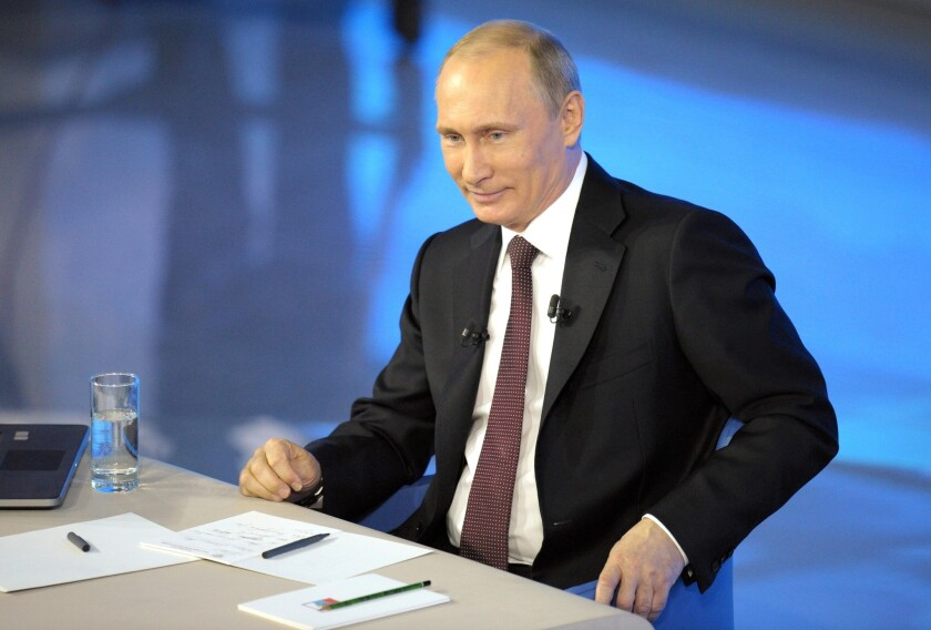 Russian President Vladimir Putin during a nationally televised question-and-answer session Thursday in Moscow.