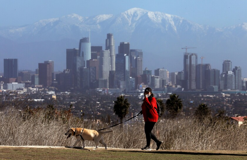 A bundled Louise Takahashi walks with her dog Abby as the snow capped mountains frame the downtown Los Angeles skyline