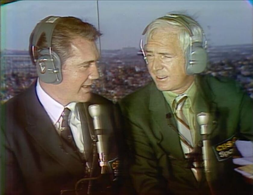 Pat Summerall, left, and Jack Buck were the broadcast team for Super Bowl IV between the Vikings and Chiefs.