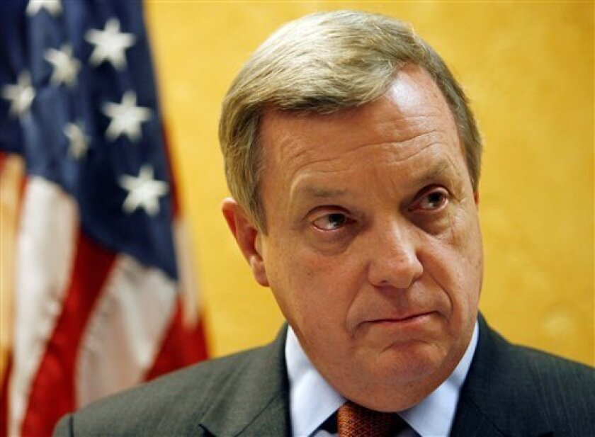 U.S. Sen. Dick Durbin holds a news conference to discuss the latest developments in Gov. Rod Blagojevich's impeachment and the appointment of Roland Burris to the U.S. Senate, Friday, Jan. 9, 2009, in Chicago. (AP Photo/Nam Y. Huh)