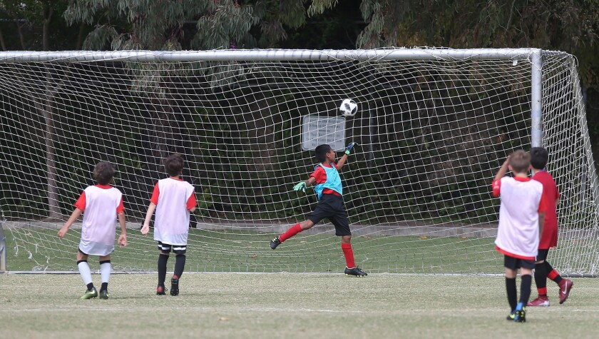 A goal by Costa Mesa Adams player Joseth Zarate sails into the net for a goal in a boys' fifth and