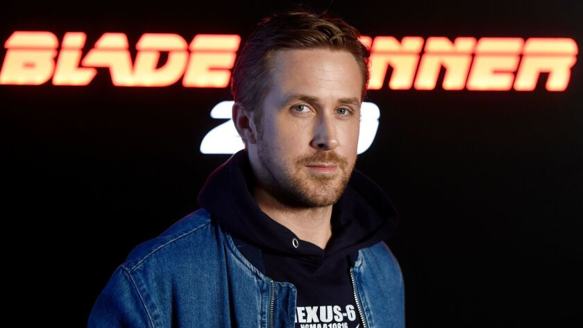 "Ryan Gosling, who is starring in the upcoming ""Blade Runner 2049,"" is shown backstage at the Sony Pictures Entertainment presentation at CinemaCon 2017 at Caesars Palace on Monday."