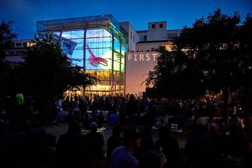 """The view from the back of the patio garden at the L.A. County Natural History Museum on Friday during the public preview hosted by Neil Young to introduce his unconventional new album """"Earth,"""" due for release on June 24."""