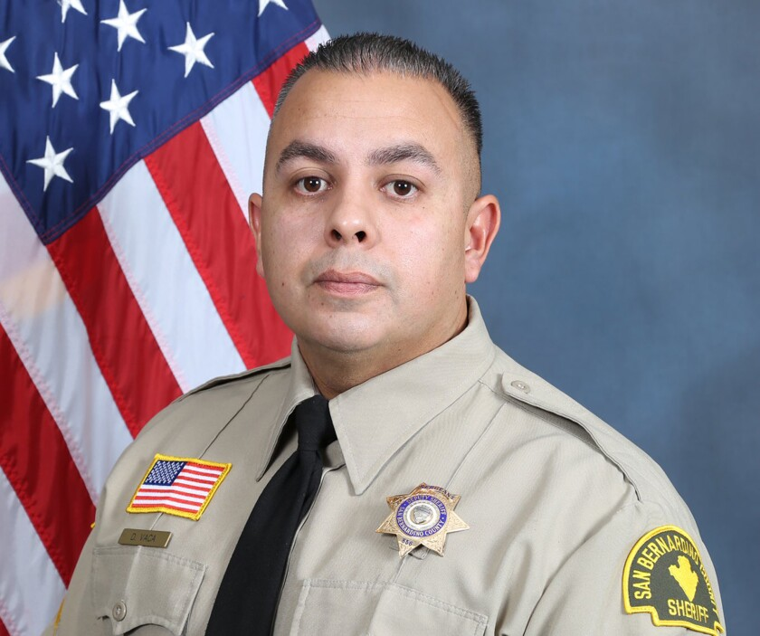 This undated photo released by the San Bernardino County Sheriff's Office shows Sgt. Dominic Vaca, a Southern California sheriff's deputy, who died after being shot by a suspect who was later killed in a shootout with deputies in Yucca Valley, a desert community east of Los Angeles, authorities said Tuesday, June 1, 2021. (San Bernardino County Sheriff's Office via AP)