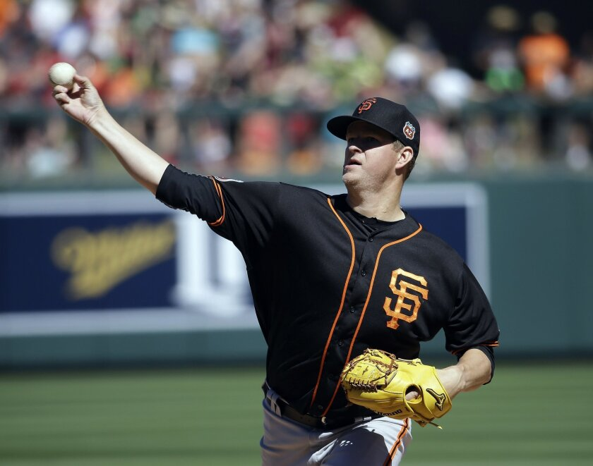 San Francisco Giants' Matt Cain throws during the third inning of the team's spring training baseball game against the Arizona Diamondbacks, Wednesday, March 23, 2016, in Scottsdale, Ariz. (AP Photo/Darron Cummings)