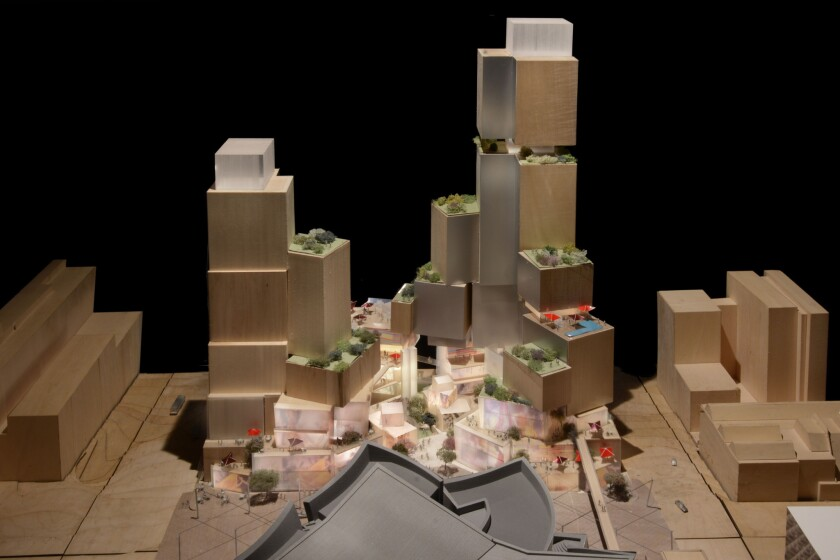A depiction of the latest design, by Frank Gehry, for a $650-million retail, hotel and residential complex across Grand Avenue from Walt Disney Concert Hall.