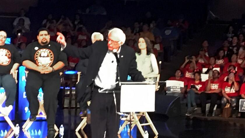 Sen. Bernie Sanders speaks Saturday at rally to call for higher wages for Disneyland Resort workers.