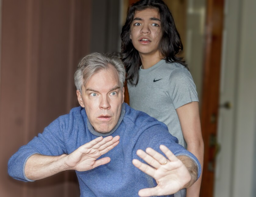"""Actor Jason Heil, left, and his son Tristan Heil rehearse a scene from """"Dub Thee Fear."""""""