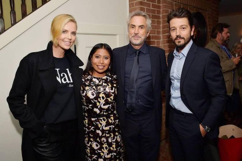 Charlize Theron, Yalitza Aparicio, Alfonso Cuarón y Diego Luna.