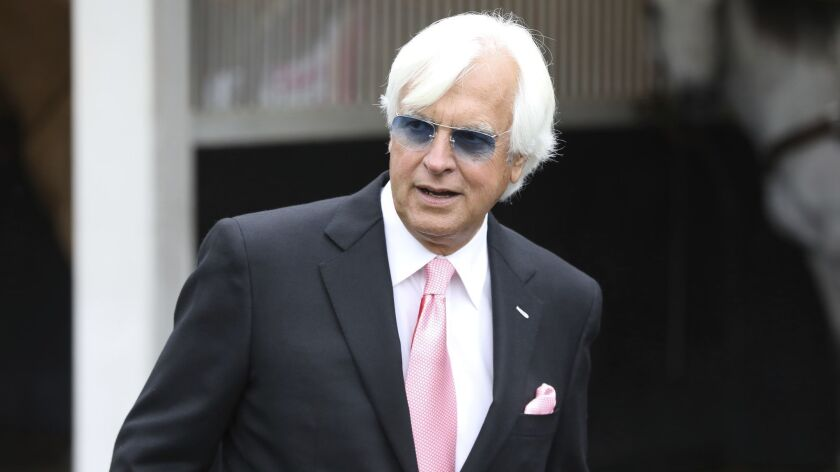 Trainer Bob Baffert is seen at Churchill Downs Friday, May 3, 2019, in Louisville, Ky. Baffert will