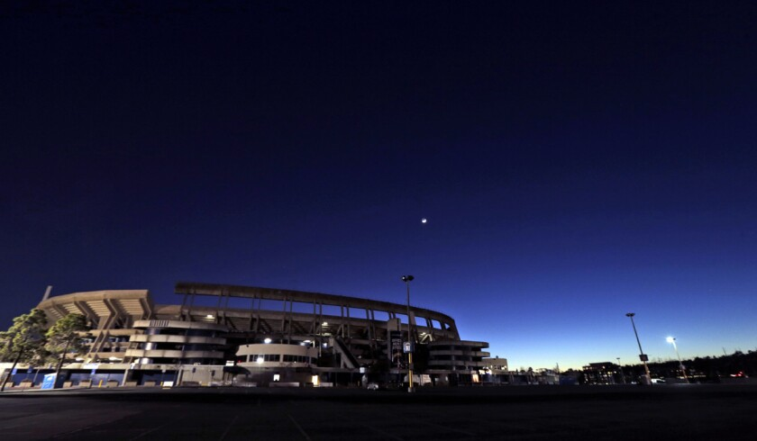 Qualcomm Stadium, the home field of the San Diego Chargers, stands Tuesday on Jan. 12.