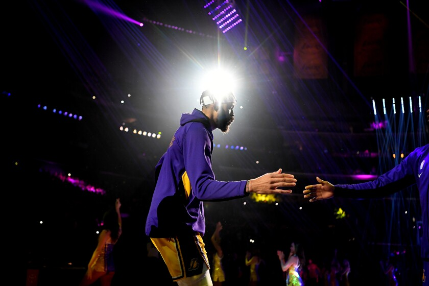 Lakers center JaVale McGee is introduced before a game at Staples Center on Jan. 13, 2020.
