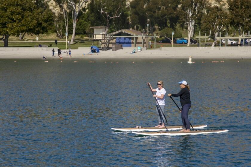 Paddle boarding in Dana Point Harbor