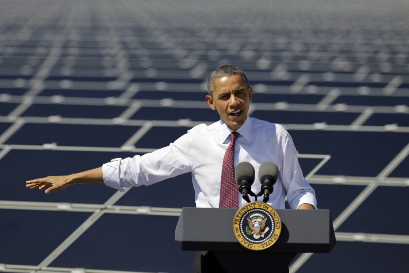 President Barack Obama speaks after touring Sempra's Copper Mountain Solar 1 facility in Boulder City, Nev.