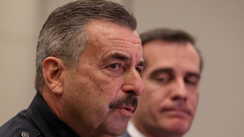 LAPD Chief Charlie Beck, left, and Los Angeles Mayor Eric Garcetti are seen at a news conference on Feb. 4.