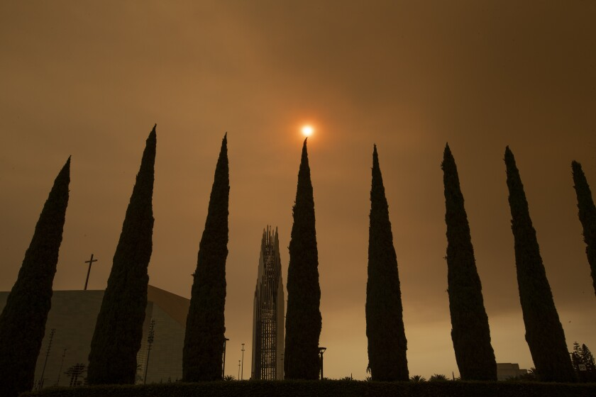 A row of cypress trees and a church tower stand against a smoky orange sky