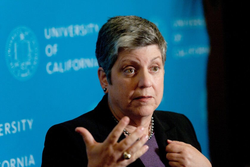 UC President Janet Napolitano and other system leaders are considering placing limits on out-of-state enrollment.