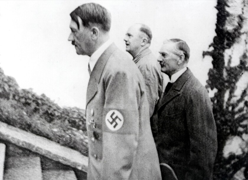 Adolf Hitler and British Prime minister Neville Chamberlain during one of their meetings in the late 1930s. On September 30, 1938 Chamberlain and a number of other European heads of state signed an agreement which permitted German annexation of the Sudetenland in western Czechoslovakia.