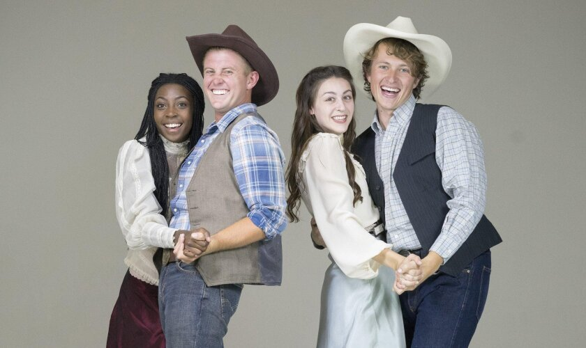 """From left: Alexandra Slade, Zackary Scot Wolfe, Charlene Koepf and Jack French in """"Oklahoma!"""" at New Village Arts Theatre."""
