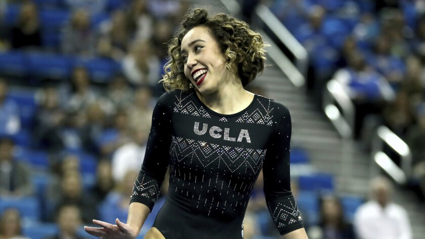 Katelyn Ohashi of UCLA during an NCAA college gymnastics match, Friday, Jan. 4, 2019, in Los Angeles.