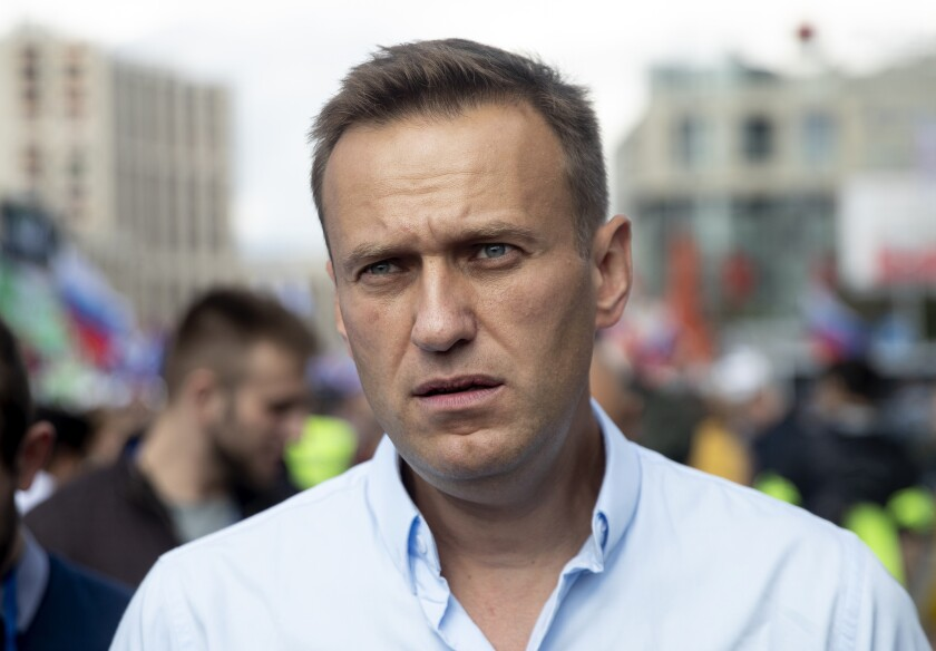 Russian opposition politician Alexei Navalny at a protest in Moscow in July 2019