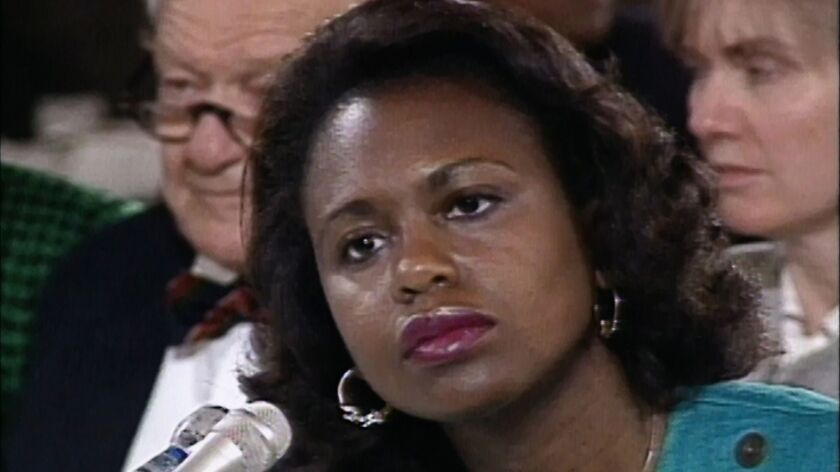 "la-et-anita -- Still from the documentary ""Anita."" Anita Hill during testimony against then Supreme"