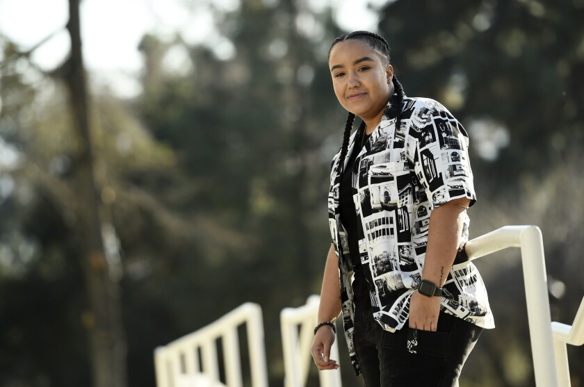 """Director Cierra Glaude poses for a portrait in Glendale, Calif. on Feb. 4, 2021. When the series """"Queen Sugar"""" debuted in 2016, Glaude worked as a production assistant on the show. Five years later, she's been promoted to director for season five on the Oprah Winfrey Network series. (AP Photo/Chris Pizzello)"""