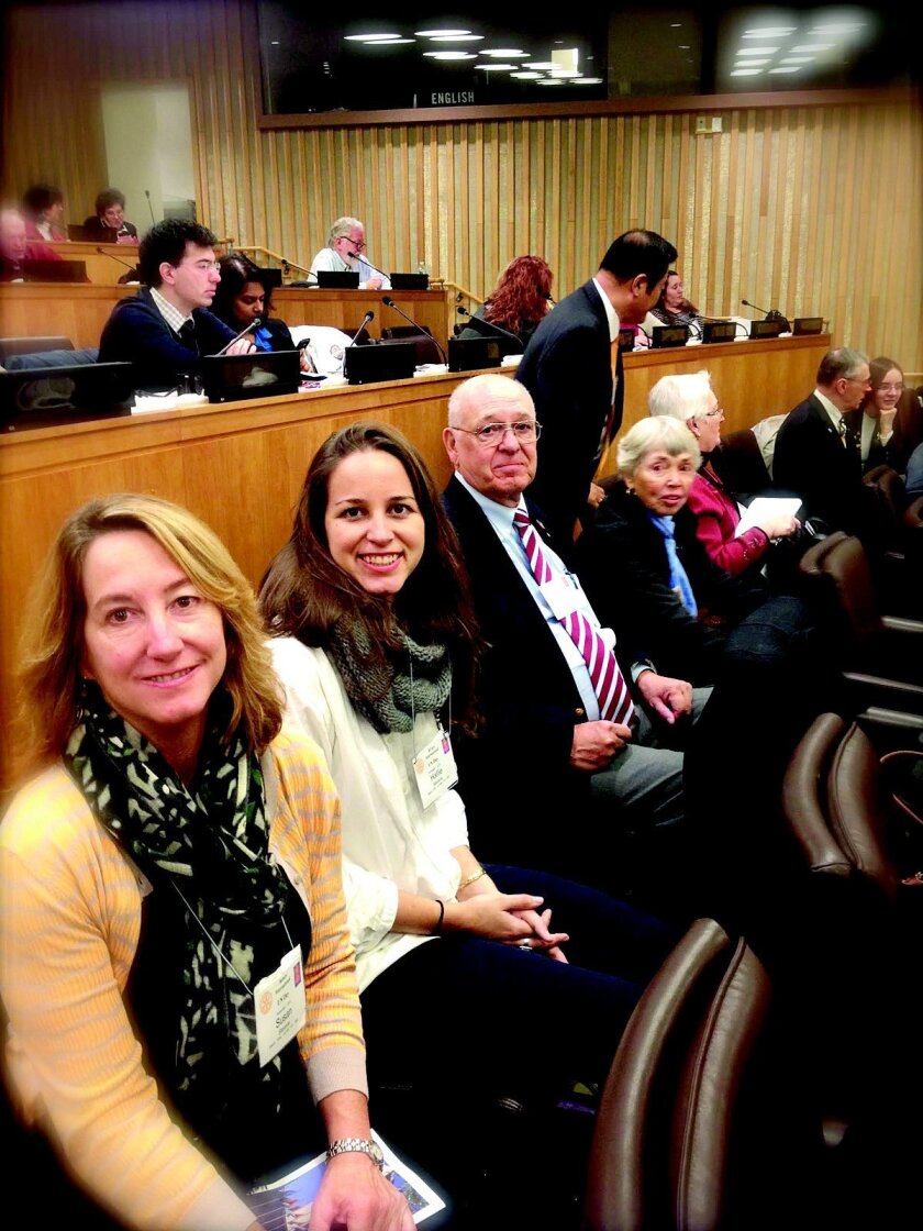 La Jollans Susan and Hallie Stevens, Don Lincoln and Mary Jane Lincoln attend Rotary-United Nations Day at the UN in New York City.