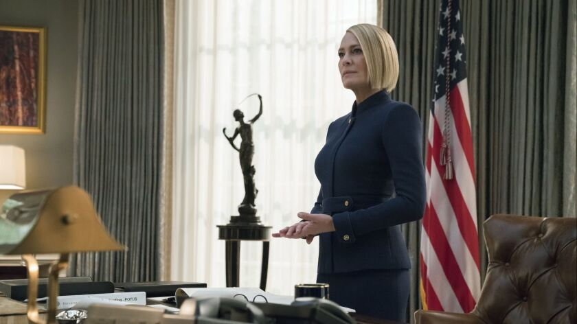 """Robin Wright whose character has risen to new heights in the final season of """"House of Cards."""""""