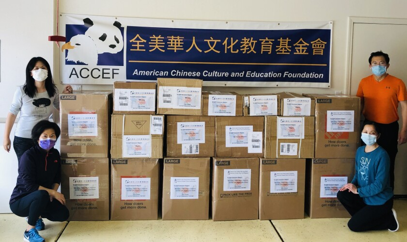 Local American Chinese Cultural and Education Foundation donated has donated to frontline workers in San Diego, Louisiana and New York.