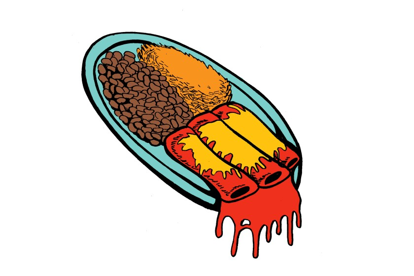 Graphic novel illustrations of a combo plate