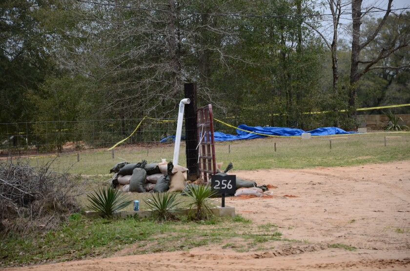 The exterior of an Alabama bunker where FBI agents shot and killed a man who'd taken a 5-year-old boy hostage.