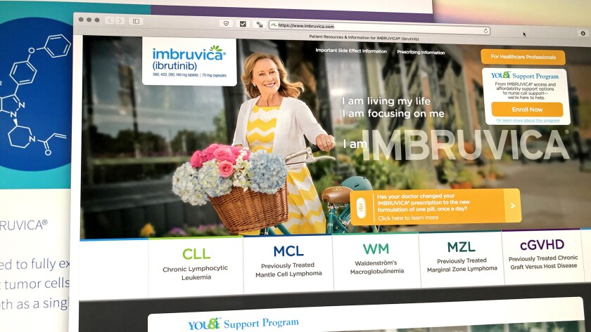 A new pricing scheme for Imbruvica ensures dose reductions won't save patients money or erode companies' revenue from selling the blood cancer drug. Above, direct-to-consumer marketing for the drug on the Pharmacyclics website.