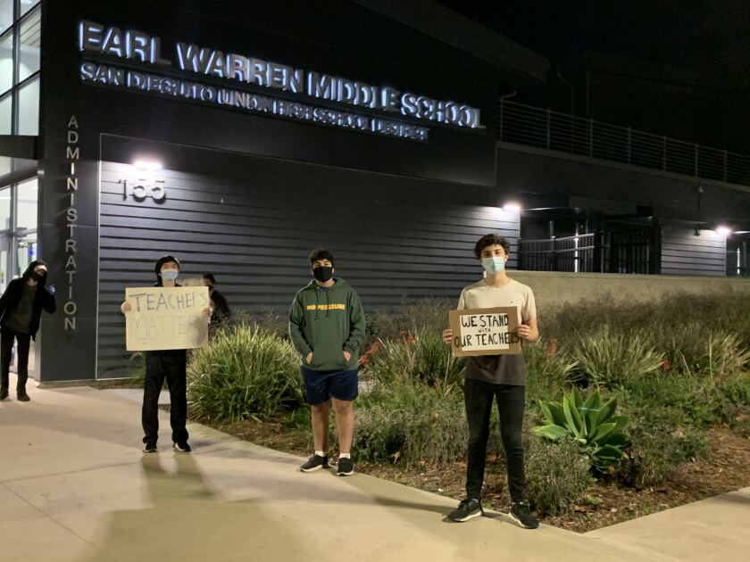 Canyon Crest Academy students organized a socially distanced protest against San Dieguito's reopening plan.