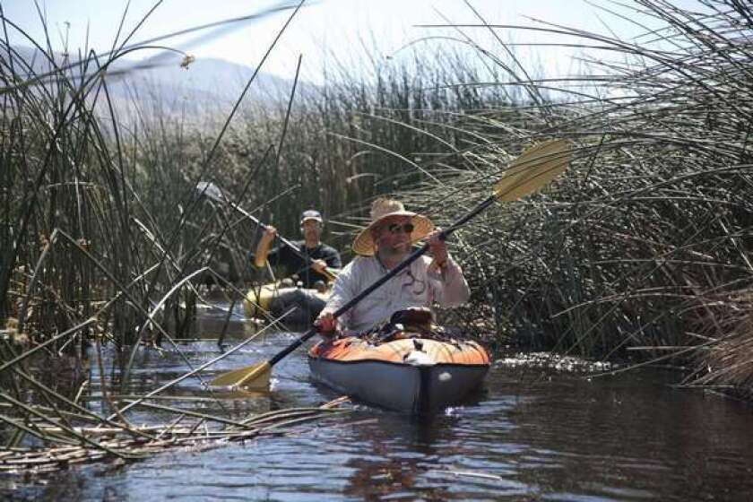 Owens Valley environmentalist Mike Prather and Inyo County projects manager navigate the Lower Owens River in kayaks.