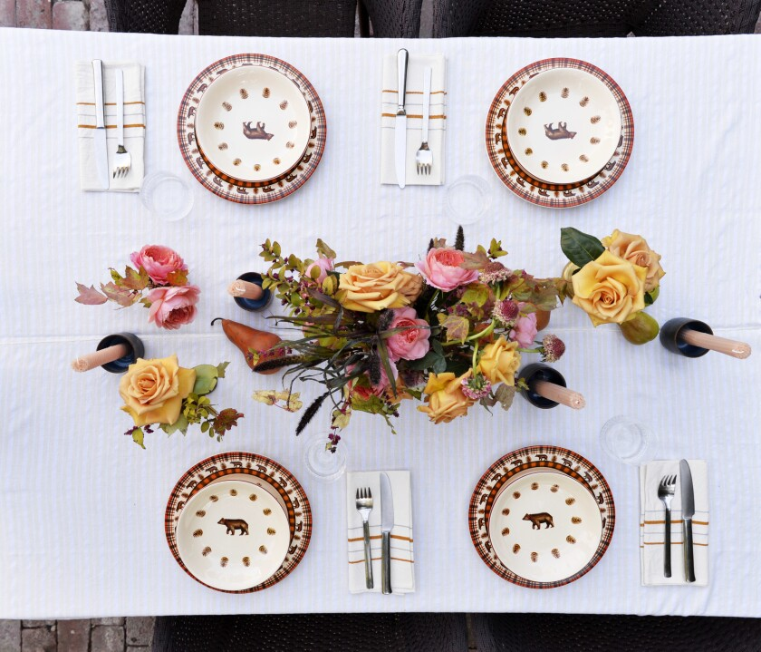 A table scape designed by lifestyle expert Heather Taylor at her home in Hollywood.