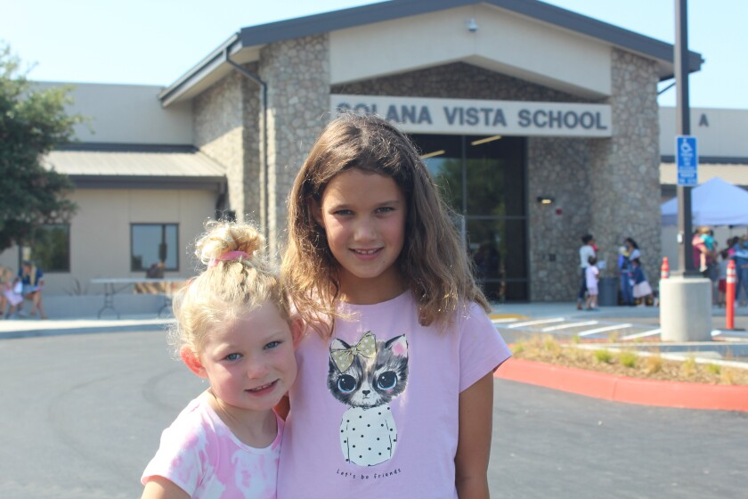Sisters Macie and Parker Kline are ready to start kindergarten and third grade at Solana Vista.