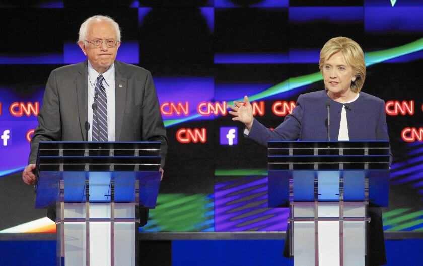 """Bernie Sanders and Hillary Rodham Clinton at the first Democratic presidential debate for the 2016 election. The new Hulu docuseries """"Hillary"""" helps illuminate Clinton's antagonism toward Sanders."""