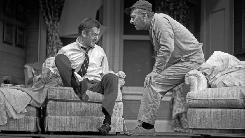 "Tony Randall, left, and Jack Klugman star in ""The Odd Couple"" at the Shubert Theatre in Los Angeles in 1975."